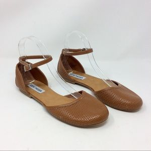 Steve Madden Brown Maia Ankle Flats Perforated